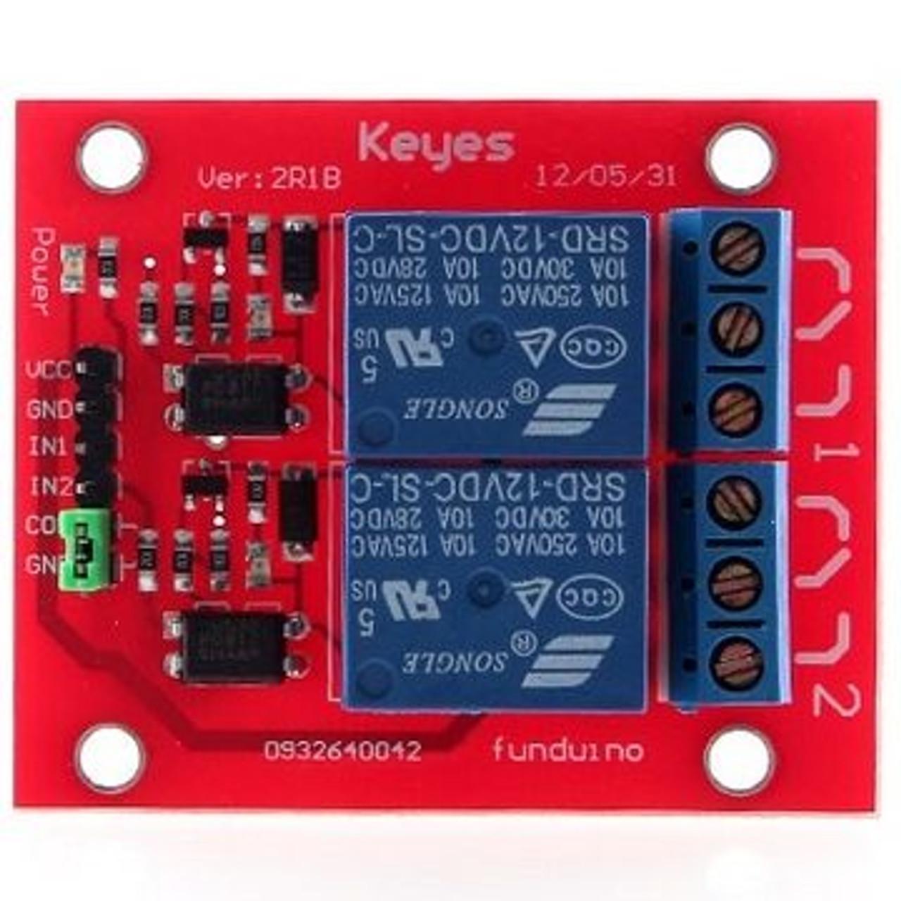 2-Channel Relay Module for Arduino & Raspberry Pi - 12V (Keyes)