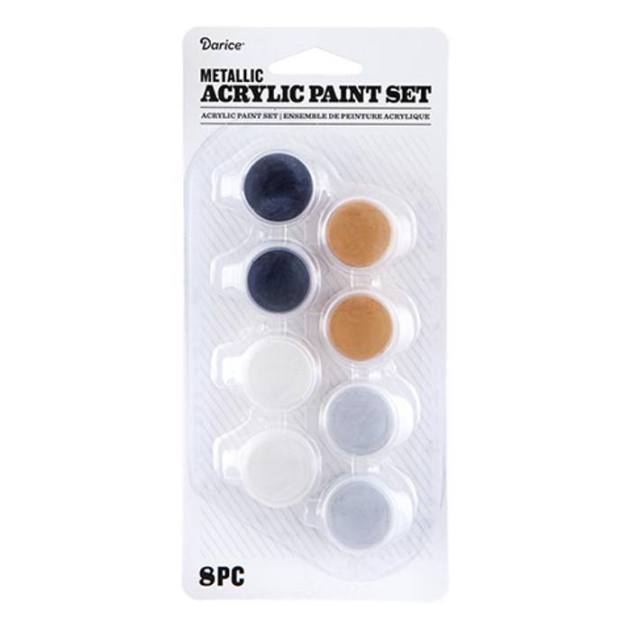 Metallic Acrylic Paint Pot Set: 8 Pots, Assorted Colors