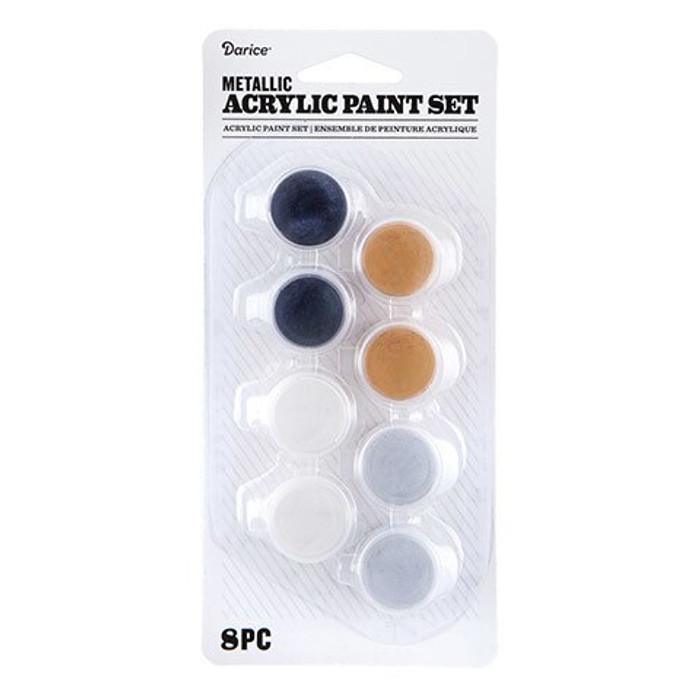 Metallic Acrylic Paint Pot Set: 8 Pots, Assorted Colors