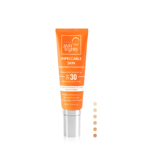 Suntegrity Impeccable Skin - New Tube with product color option chips - CC Cream, SPF 30, Zinc Oxide