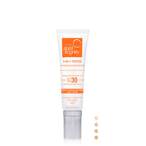 This an image of the Suntegrity 5-in-1 Tinted Sunscreen Moisturizer in its 2oz packaging.