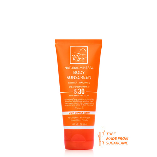 Suntegrity Natural Mineral Body Sunscreen - Broad Spectrum SPF 30 with a light orange scent in a tube made from sugar cane.