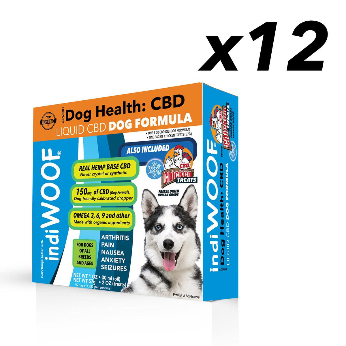 indiWOOF® CBD Liquid 30 ml / 1 fl oz bottle + indiPETUSA CBD Chicken Treats for Dogs  - BULK