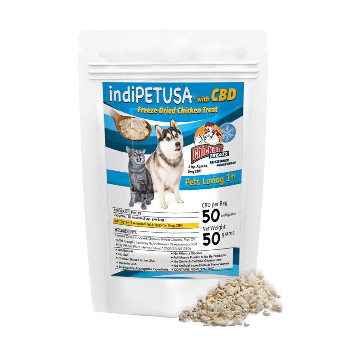 indiPETUSA® CBD Chicken Treats for Cats & Dogs