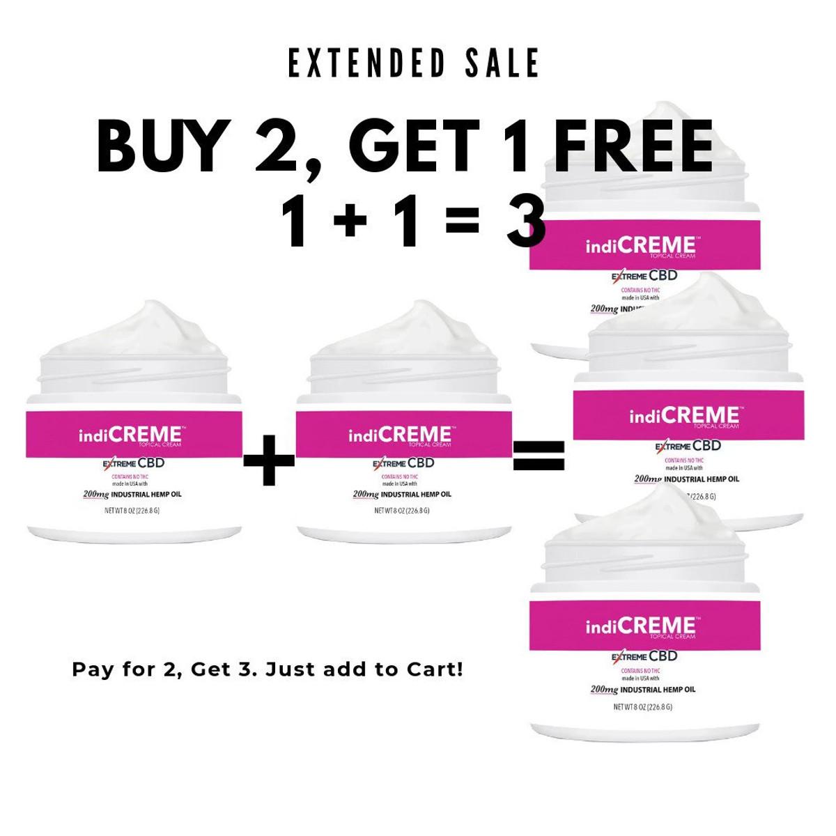 1 +1 = 3 | indiCREME® Pure CBD - 8 oz. Jar