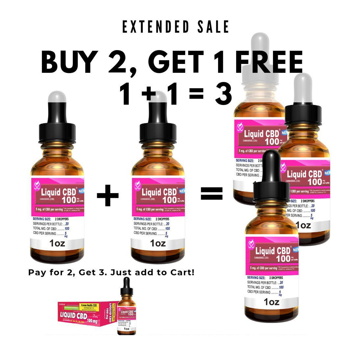 1 +1 = 3 | Sootheen® Liquid CBD 100mg - 1 oz.