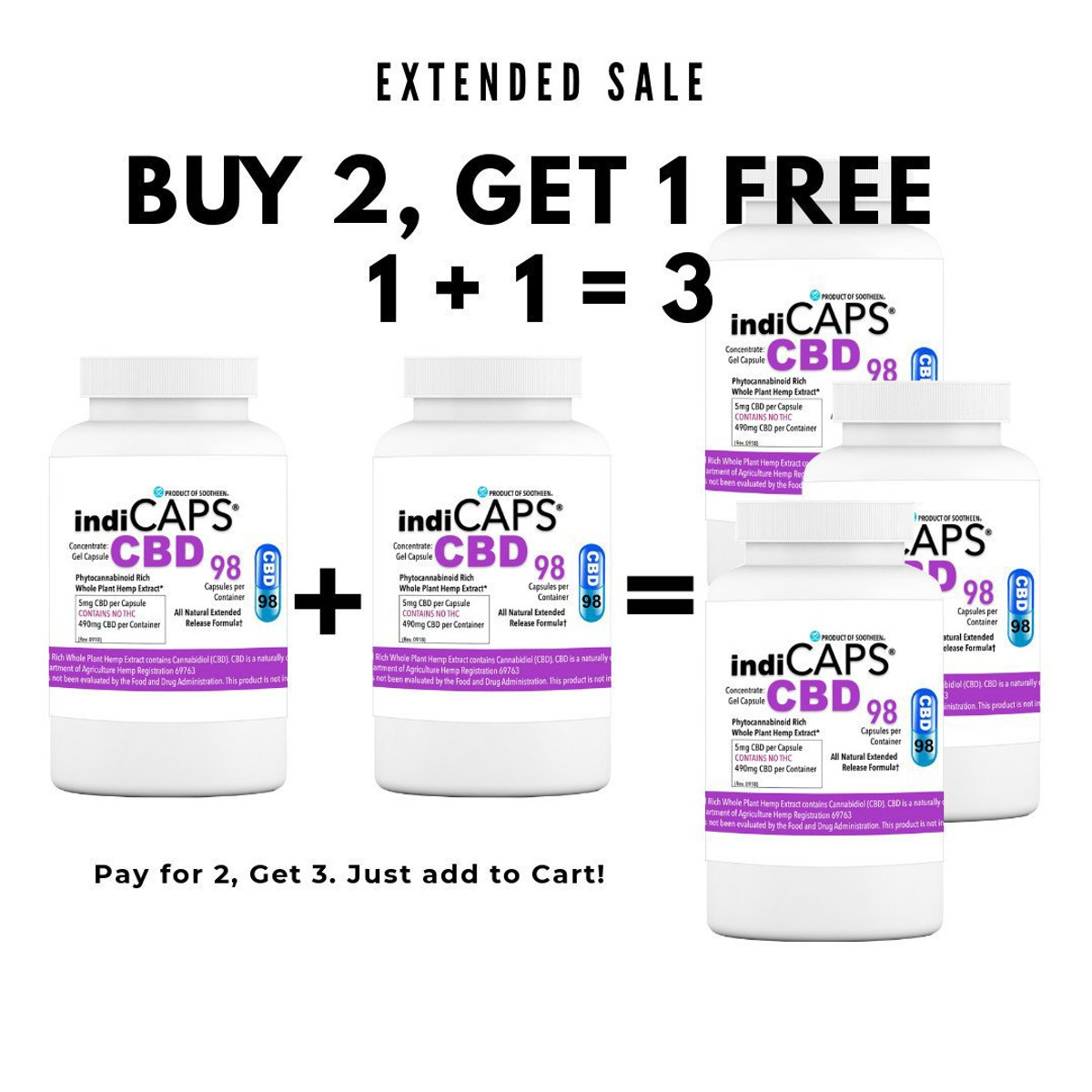 1 +1 = 3   indiCAPS® CBD Capsules - 5 mg / 98 capsules per bottle (490 mg per bottle)