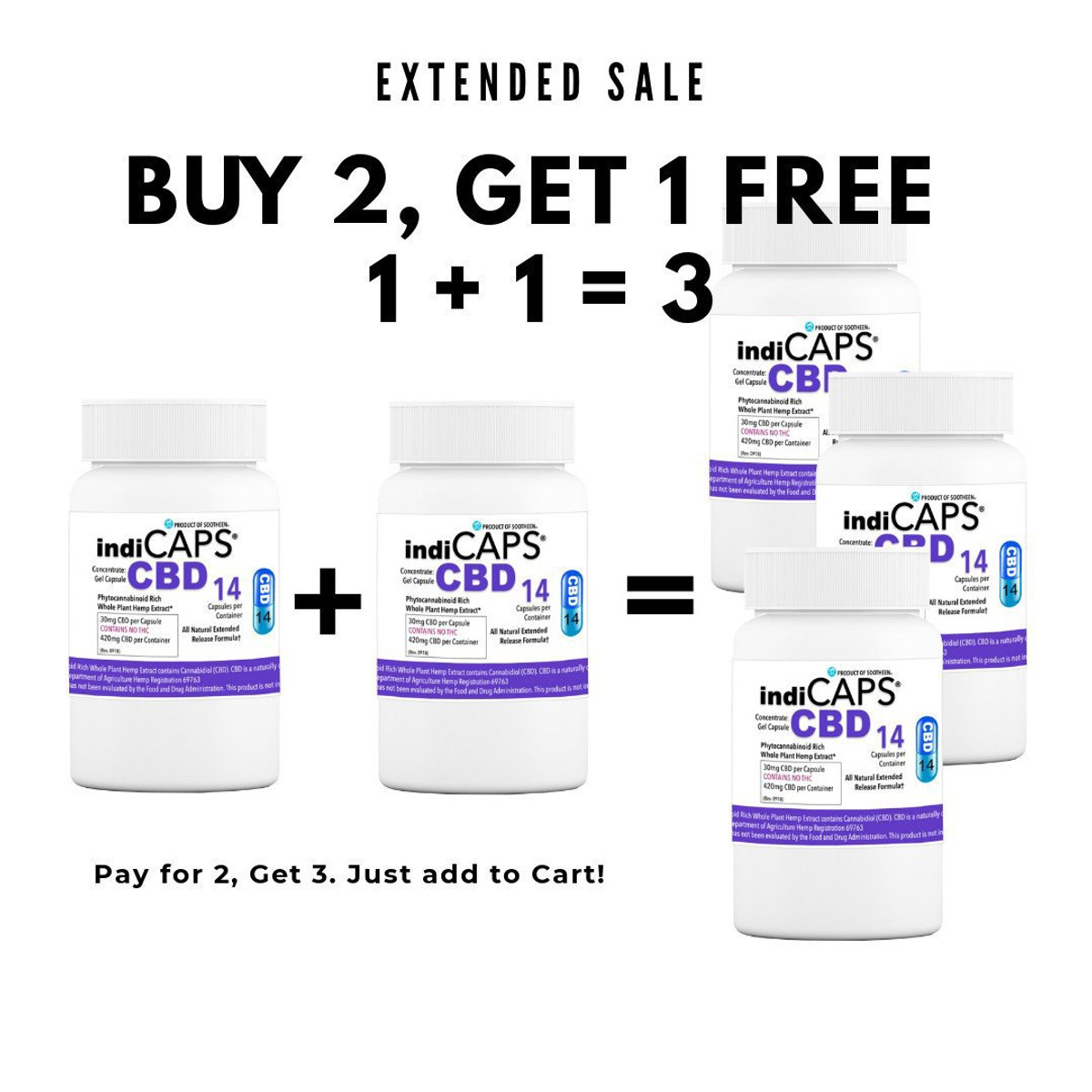 1 +1 = 3 | indiCAPS® CBD Capsules - 30 mg / 14 capsules per bottle (420 mg per bottle)