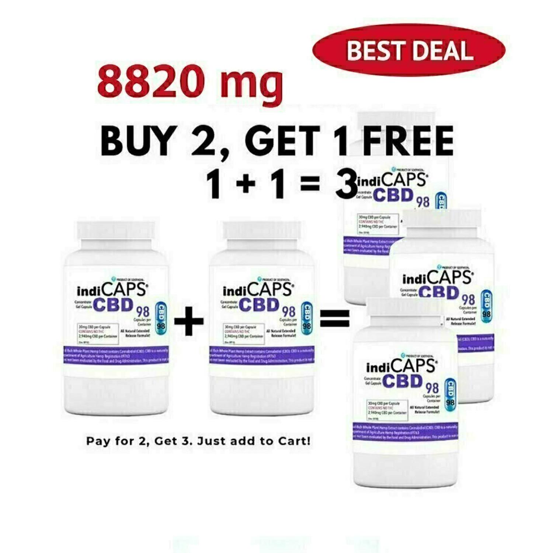 1+1=3 SALE indiCAPS® CBD Capsules  •  30mg / 98 per bottle  •  8820mg total