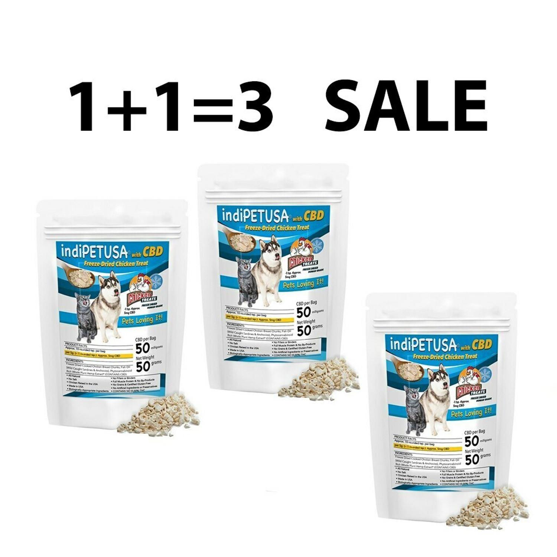 1+1=3 SALE       indiWOOF® Dog CBD Chicken Treats Only   50g   CBD: 100mg