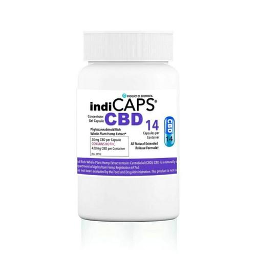 indiCAPS® CBD Capsules  •  30mg / 14 per bottle  •  420mg total