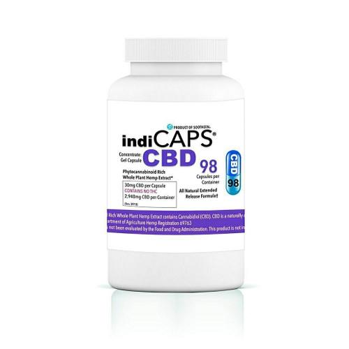 indiCAPS® CBD Capsules  •  30mg / 98 per bottle  •  2940mg total
