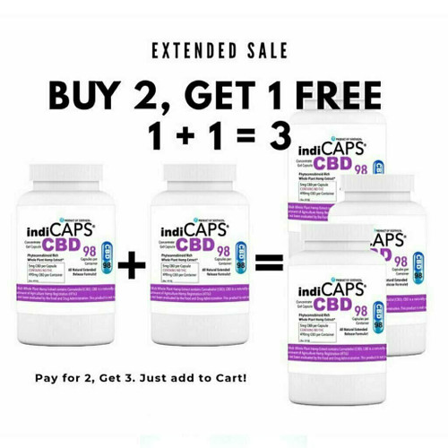 1+1=3 SALE indiCAPS® CBD Capsules  •  5mg / 98 per bottle  •  1470mg total