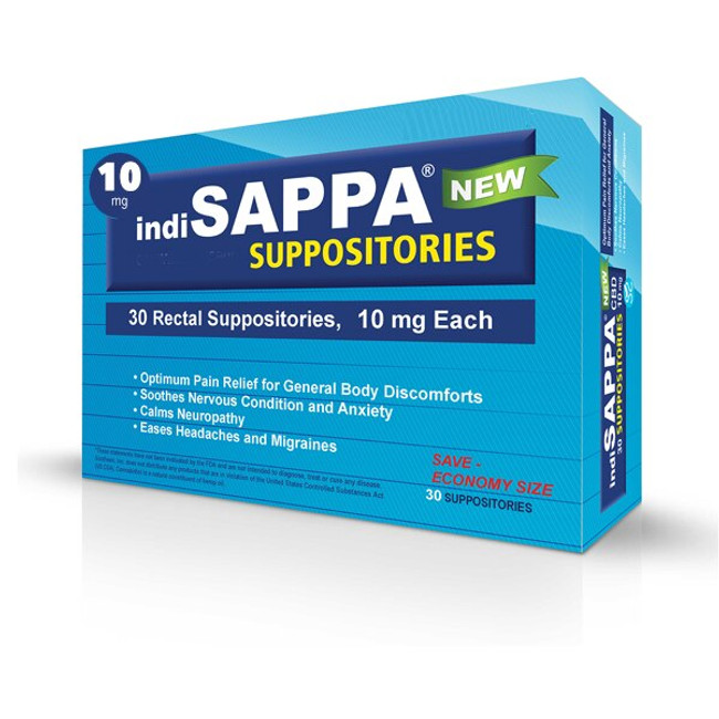 indiSAPPA® CBD Suppositories 10mg - 30 per container