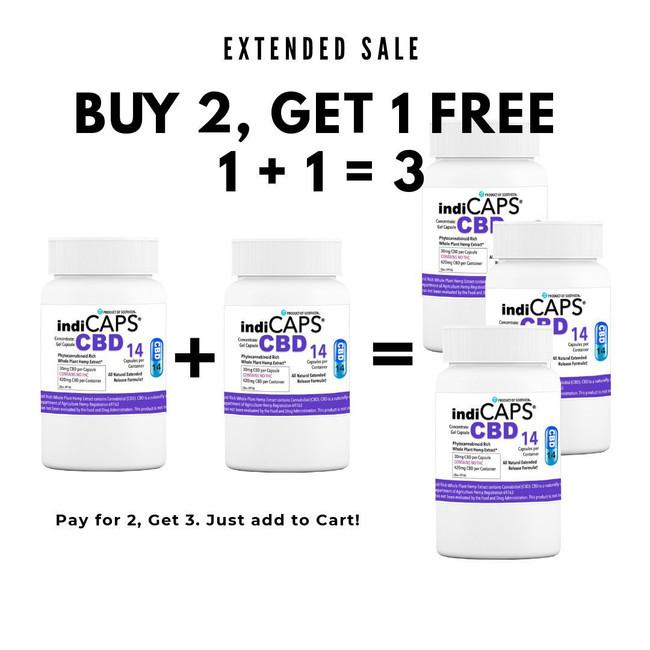1 +1 = 3   indiCAPS® CBD Capsules - 30 mg / 14 capsules per bottle (420 mg per bottle)