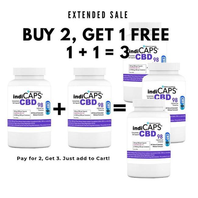 1 + 1 = 3   indiCAPS® CBD Capsules - 30 mg / 98 capsules per bottle (2,940 mg per bottle)