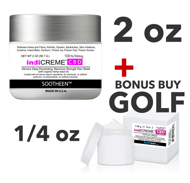 Golf Bonus Package indiCREME® Pure CBD 2oz + 1/4oz • FREE SHIPPING