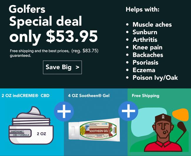 Golf Bonus Package indiCREME® Pure CBD 2oz + 4oz Sootheen® Gel • FREE SHIPPING