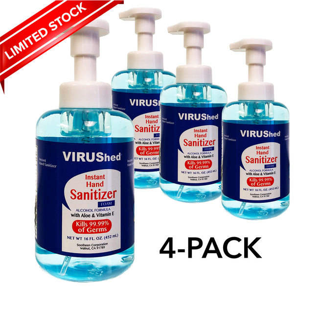 4-pack VIRUShed® Instant Foam Hand Sanitizer With Aloe Vera and Vitamin E - Alcohol Formula - 16 OZ Each