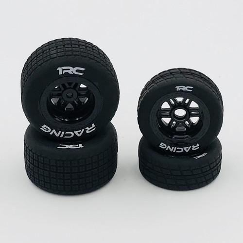 FR/RR Tires & Wheels, Black, 1/18 Midget (4)