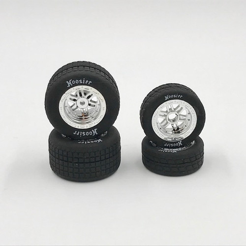 FR/RR Tires & Chrome Wheels, Hoosier, 1/18 Midget (4)