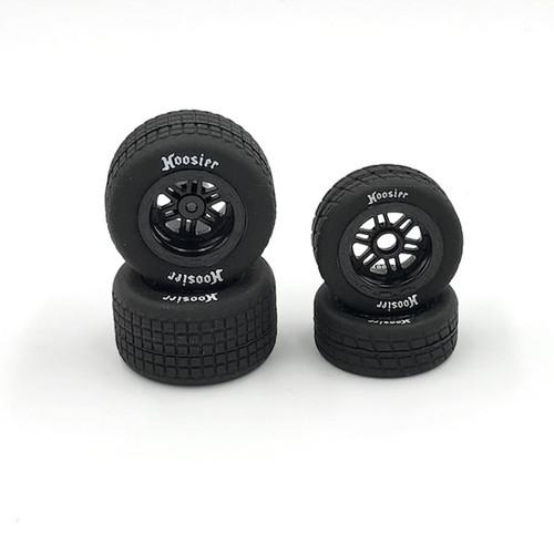 FR/RR Tires & Black Wheels, Hoosier, 1/18 Midget (4)