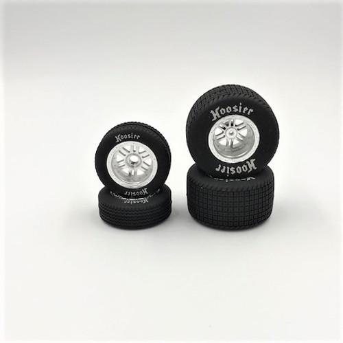 FR/RR Soft Tires & Chrome Wheels, Hoosier, 1/18 Sprint (4)
