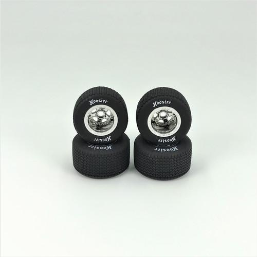 FR/RR Soft Tires & Wheels, Silver Chrome, 1/18 EDM (4)