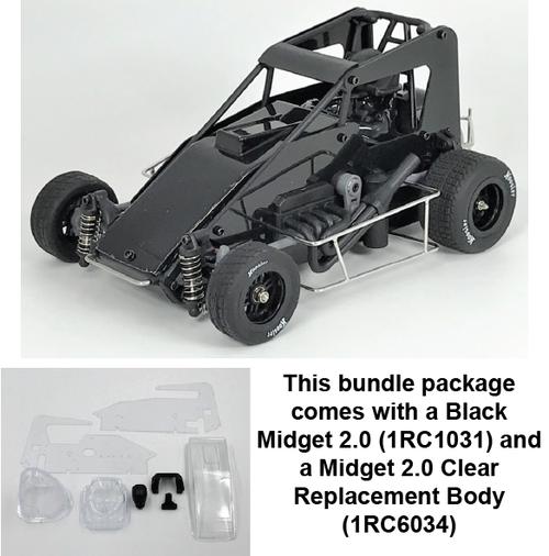 1/18 Midget 2.0, Black, RTR - w/Clear Body Set