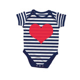 Heart Navy Stripe Bodysuit