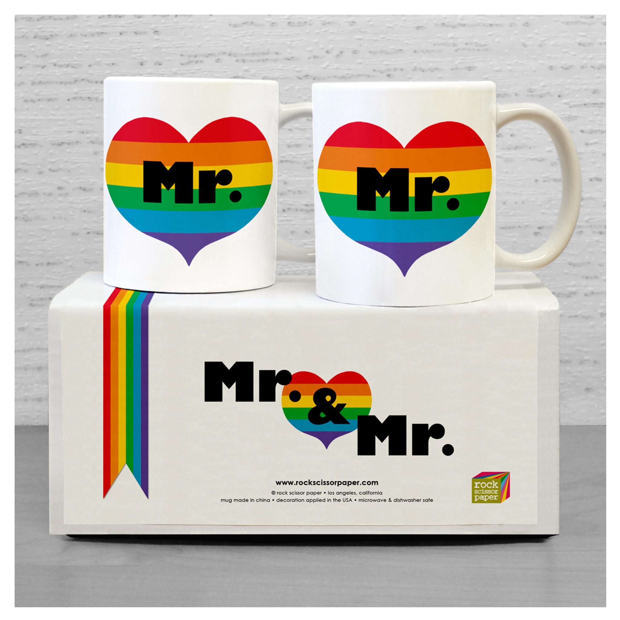 Mr & Mr Rainbow Mug Set