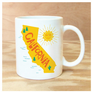 California & Sun Mug by Rock Scissor Paper