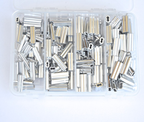 Aluminum Double barrel Crimp Kit 4 sizes long 1.5mm-2.3mm x 18mm