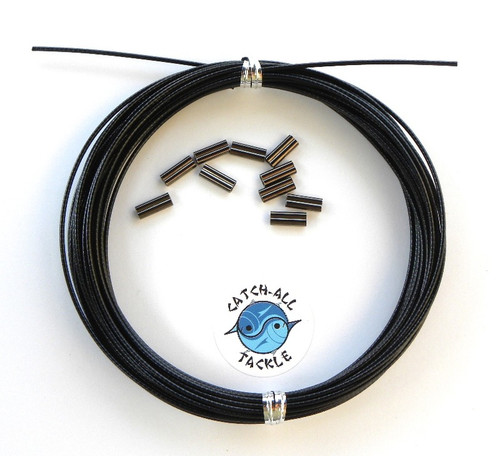 49 Strand Stainless Steel Black Vinyl Coated Cable 30' coil