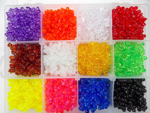 Tri Beads 11mm  200pcs large hole Select color