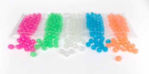 Glow beads available in 5 colors and 4 sizes