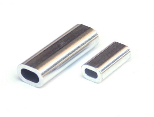 100 pieces Aluminum Double Barrel Crimp Sleeves 2.3mm x 18mm