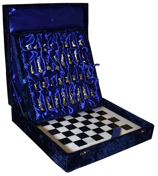 Polished Pewter Chess set on Marble board and wooden velvet lined box