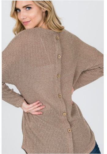 Knit Sweater Back Buttons