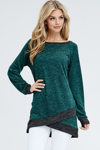 Split Front Tunic Sweater