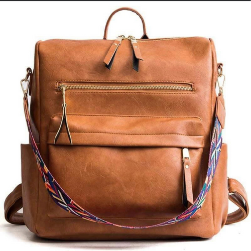 Vegan Leather Backpack with Guitar Strap