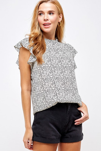 Ruffled Sleeve Speckled Print Blouse