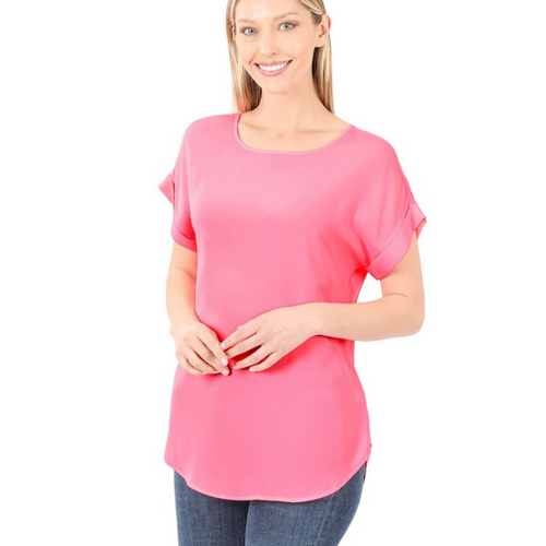 Bright Pink Woven Top