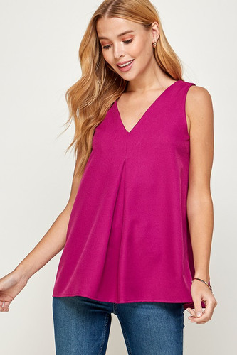 V-Neck Crepe Tank with a Flow