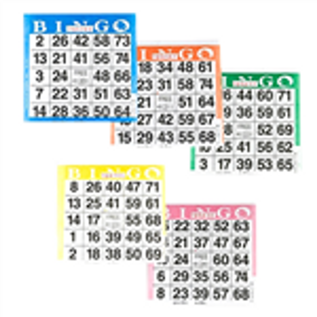 Bingo Paper Game Cards - 1 card - 5 sheets - 100 books per pack - SKU AG1S5A