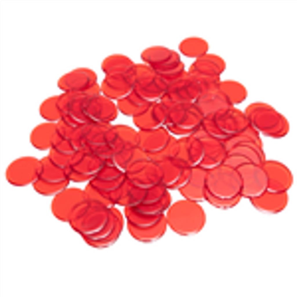 Plastic Bingo Chips - Red - 7/8 inch size - 100 per pack - Bingo Accessories - SKU B008490RD