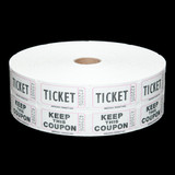 Double Roll Tickets - White - 50/50 Raffle Tickets - SKU M01211WH