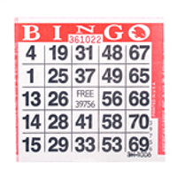 1on Red Bingo Paper Game Cards - 500 per pack - SKU AG1RD1