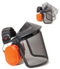 Ear Muff Mounted Faceshield with Mesh Visor, Orange