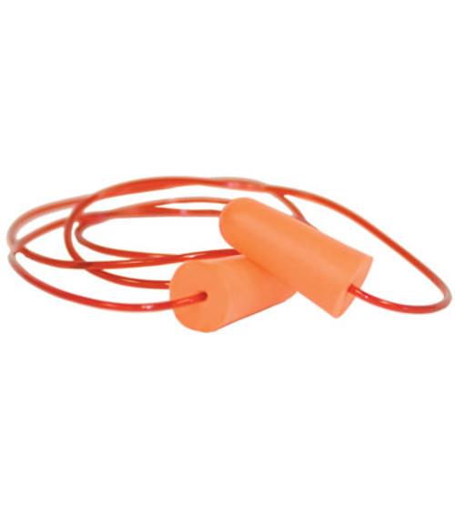 Soft Polyurethane Foam Ear Plugs, Corded, Orange Color, NRR 32